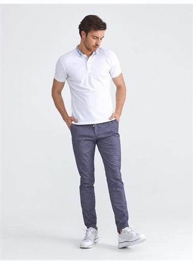 Xint XINT Polo Yaka Pamuklu Slim Fit Nakış Detaylı Tişört Beyaz